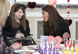 Kate Middleton sat with children making Valentine's Day cards.