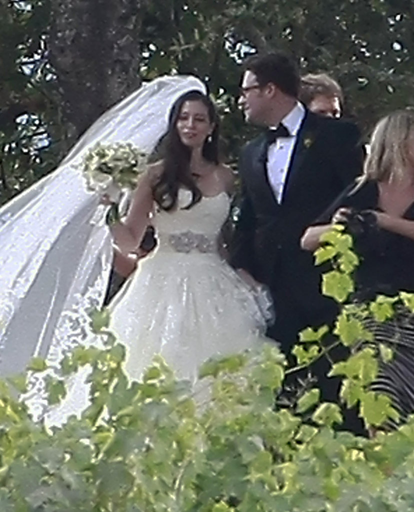 Seth Rogen and Lauren Miller traveled to Napa, CA, for their October 2011 nuptials.