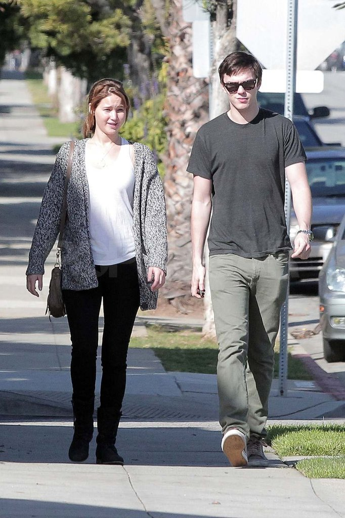 Jennifer Lawrence and Nicholas Hoult on Valentine's Day.