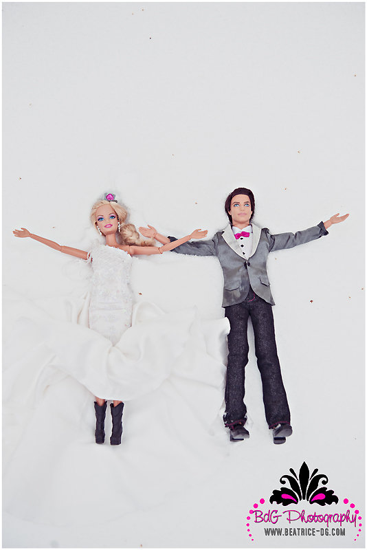 Barbie and Ken make snow angels. Photo by BdG Photography