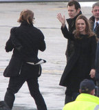 Angelina Jolie and Brad Pitt said bye to airport employees.