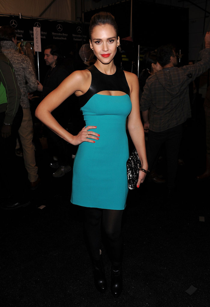 Jessica Alba looked lovely in a turquoise minidress.