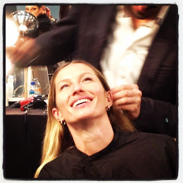 It's true: Gisele Bundchen looks spectacular without a stitch of makeup on. As witnessed backstage at Alexander Wang.