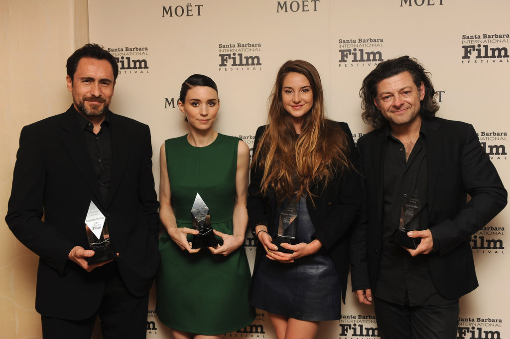 Demian Bichir, Rooney Mara, Shailene Woodley, and Andy Serkis posed with their statues backstage at the Virtuosos Award Tribute at February's Santa Barbara Film Festival.