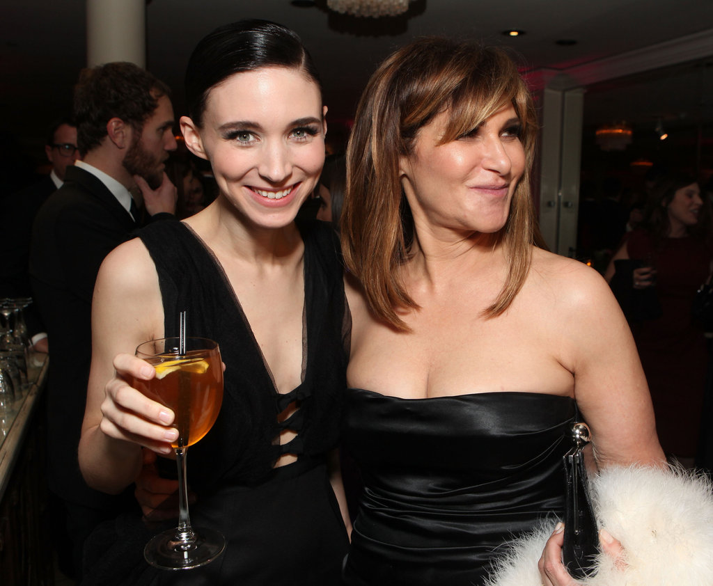 Rooney Mara raised a glass at the Sony Golden Globes afterparty with movie exec Amy Pascal.