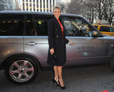 Stacy Keibler arrived via Range Rover at the Marchesa NYFW show.
