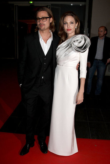Angelina Jolie and Brad Pitt at the Paris premiere of In the Land of Blood and Honey.