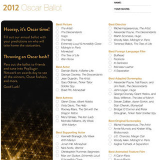 Printable Oscar Ballot For 2012