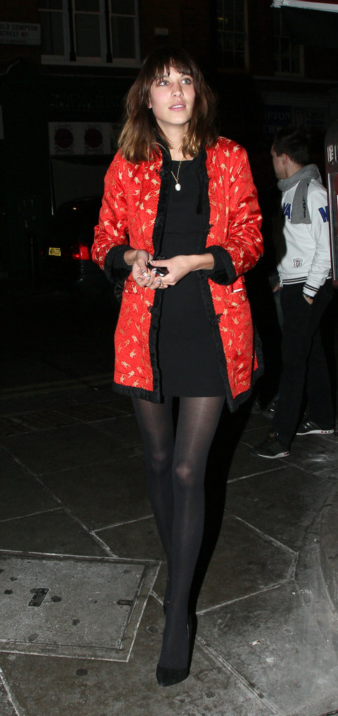 Alexa Chung added a dose of sultry red to her nighttime ensemble via this Asian-inspired robe jacket.