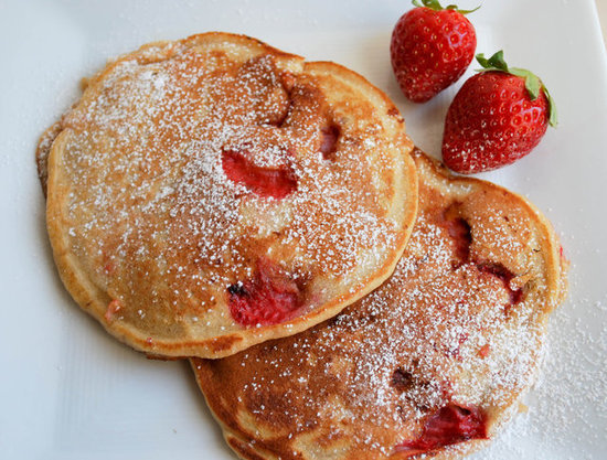 Whole Wheat Vanilla Strawberry Pancakes