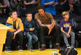 David Beckham, Cruz Beckham, Romeo Beckham, and Brooklyn Beckham checked out the Lakers.
