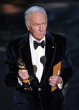 Christopher Plummer accepted his best supporting actor award for his role in Beginners.