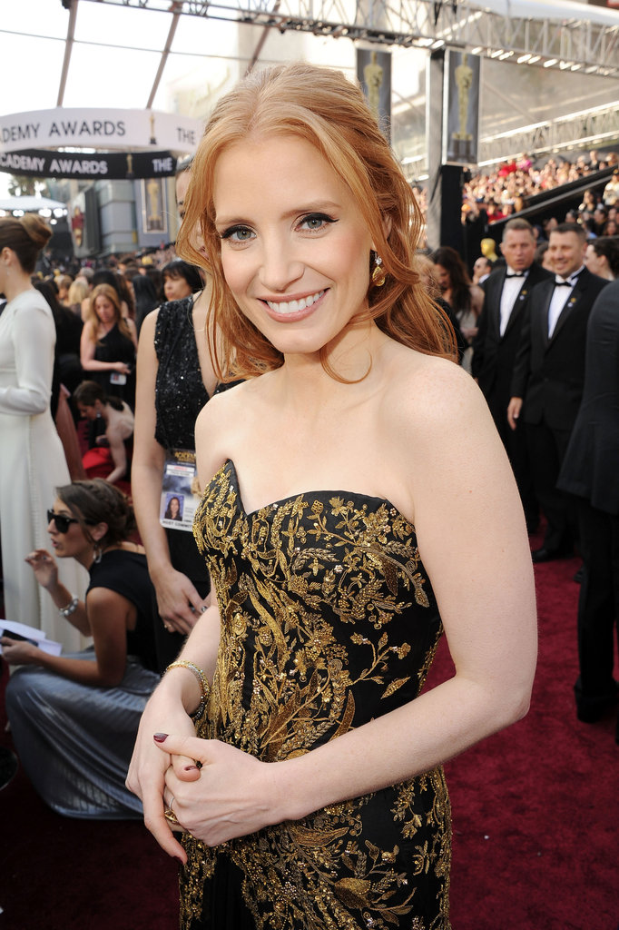 Jessica Chastain posed at the 2012 Oscars.