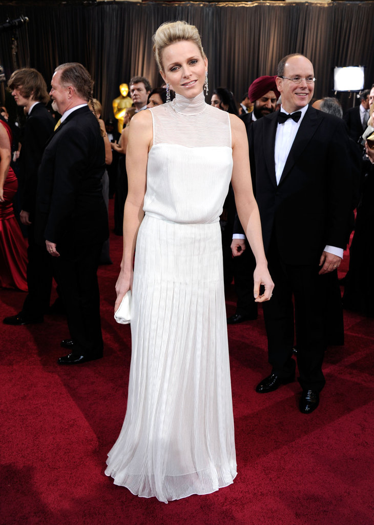 Charlene Whitstock graces the Red Carpet in white at the Academy Awards