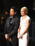 Gwyneth Paltrow and Robert Downey Jr. presented best documentary at the 2012 Oscars.