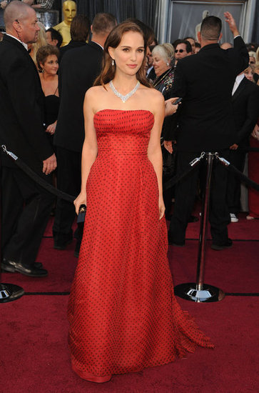 Natalie Portman in Dior at Oscars 2012.