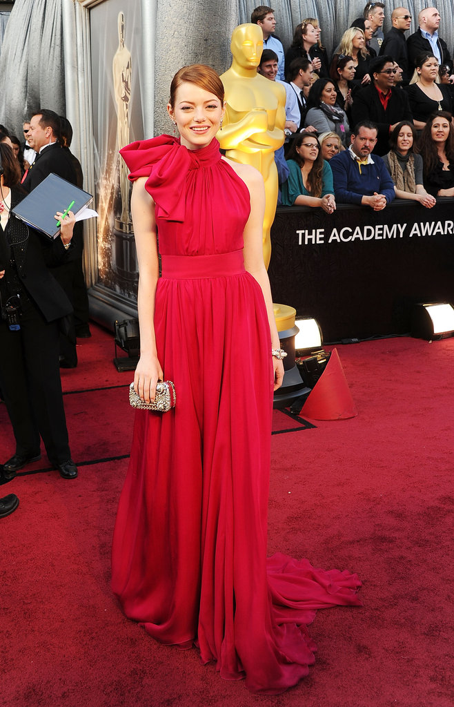 Emma Stone wore red Giambattista Valli.