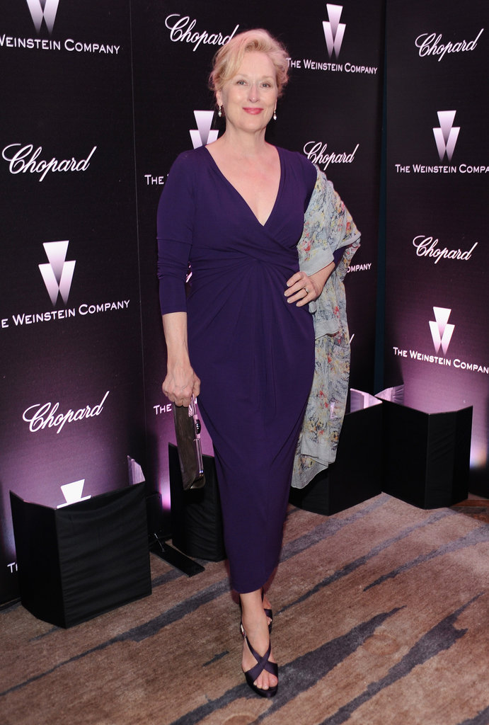 Meryl Streep showed timeless elegance in a purple dress.