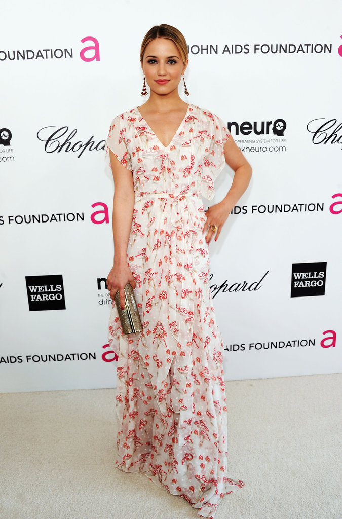 Dianna Agron looked like the picture of Spring in this pretty floral Carolina Herrera dress.