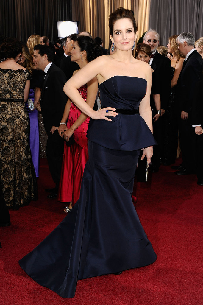 Tina Fey went for understated elegance in navy Carolina Herrera.