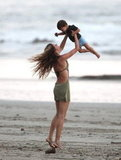 Gisele Bundchen and Benjamin Brady played together on the beach.