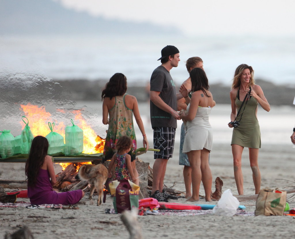 Gisele Bundchen and Tom Brady had a beach party with friends in Costa Rica.