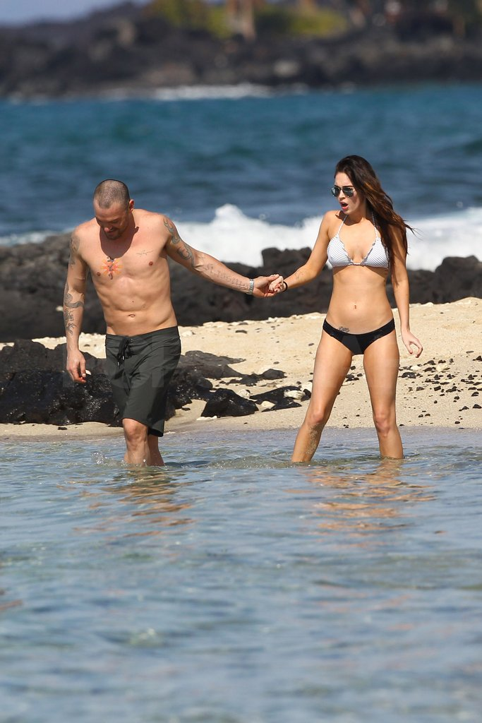Brian Austin Green coaxed Megan Fox into the chilly Pacific.