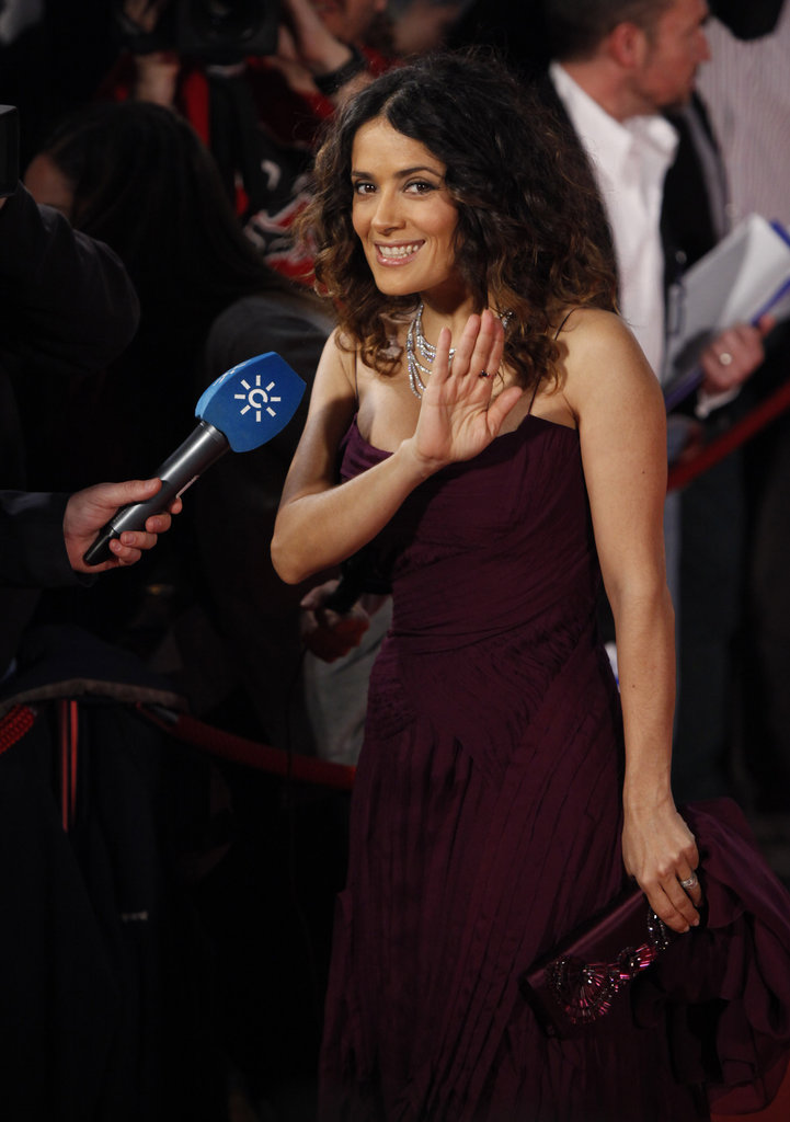 Salma Hayek gave a wave while doing interviews.