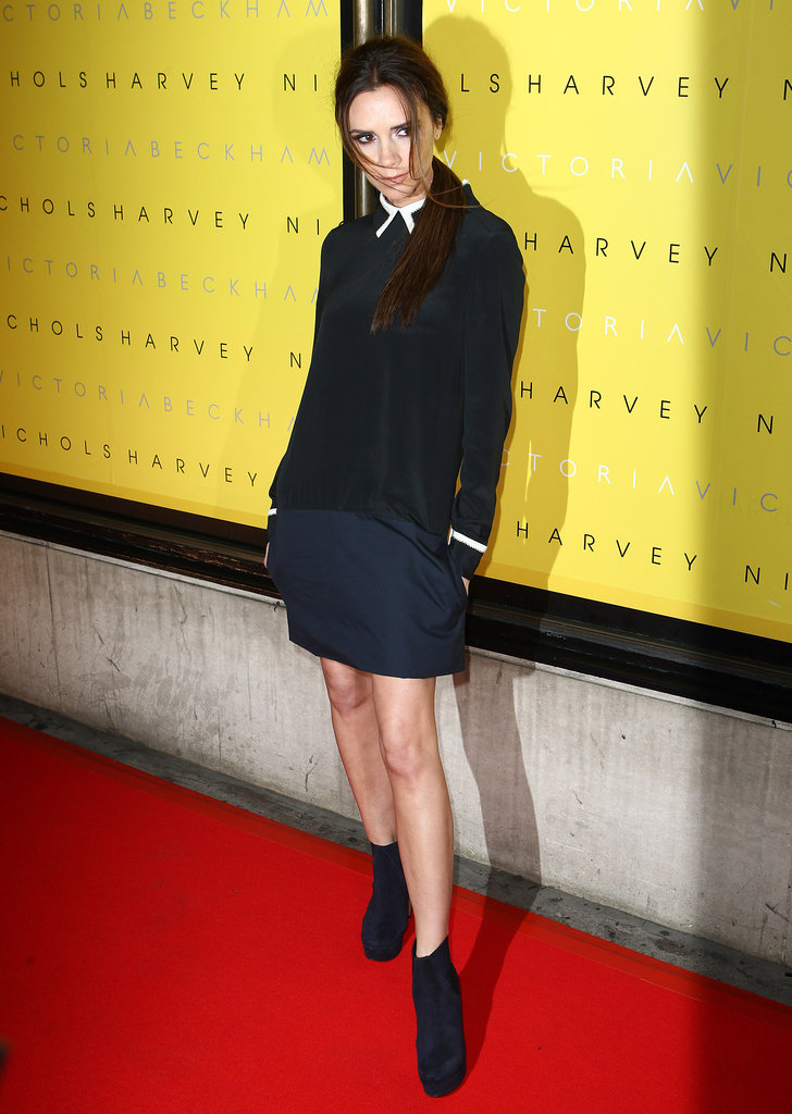 Victoria Beckham donned a chic look from her own collection at her collection launch at Harvey Nichols.