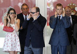 Pierre and his royal relatives cover their ears during the Monaco Grand Prix.