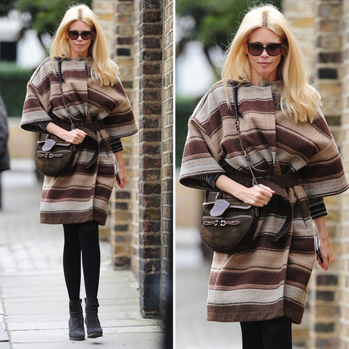 Claudia Schiffer Brown Striped Coat