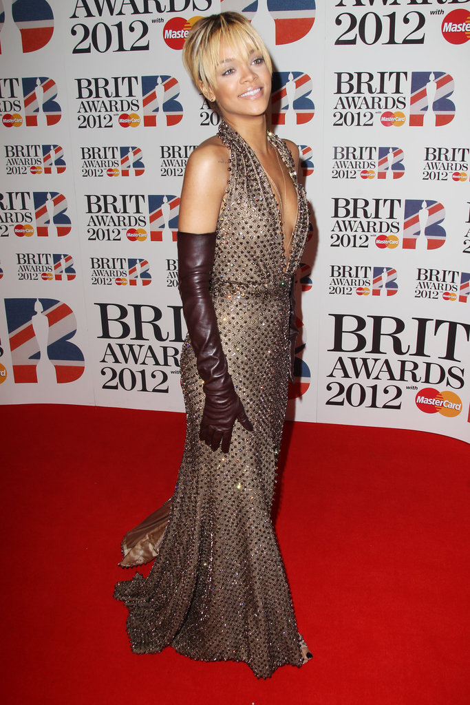 Rihanna made a grand entrance at the Brit Awards.
