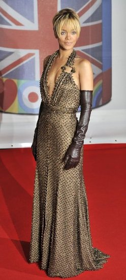 Rihanna Wears Golden Givenchy to the Brit Awards