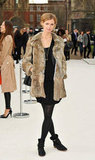 Jacquetta Wheeler added a plush fur coat to her all-black ensemble at