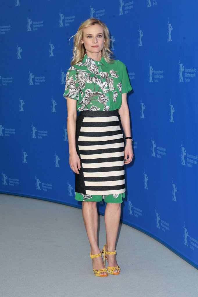 Diane Kruger styled her 10 Crosby Derek Lam floral top with a matching striped skirt and standout Giuseppe Zanotti yellow sandals at the Berlin Film Festival.    More J.Crew...
