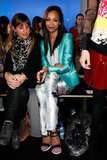 Zoe Saldana wore Prabal Gurung floral pants and a turquoise blazer at the brand's runway show during NYFW.    More Vanessa Bruno...