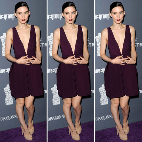 Rooney Mara Plum Plunging Dress