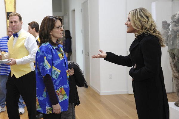 Tina Fey as Liz Lemon and Jane Krakowski as Jenna Maroney on 30 Rock.