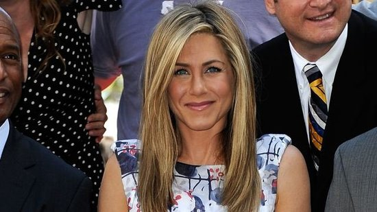 "Video: Jennifer Aniston Jokes About Getting ""on All Fours"" at Her Star Ceremony With Justin Theroux"