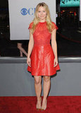 Kristen Bell's leather and lace Valentino adds another dimension to the play on ladylike-meets-edgy.