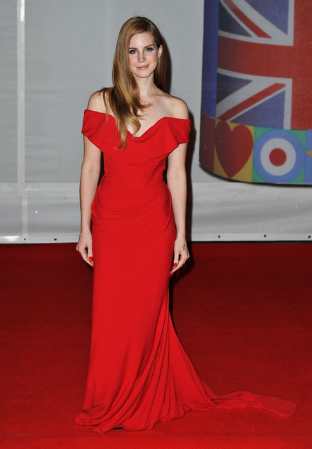 Pictures of Lana Del Rey in Red Vivienne Westwood Gown at the 2012 Brit Awards