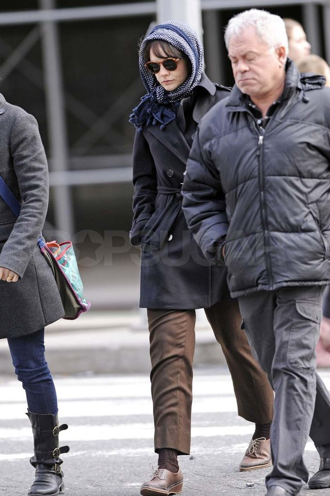 Carey Mulligan on set in NYC.
