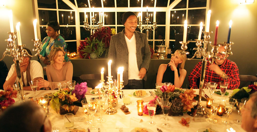 Chris Ivery, Ellen Pompeo, Bevy Smith, Charlize Theron, and Terry Richardson listened to Pharrell Williams at dinner.