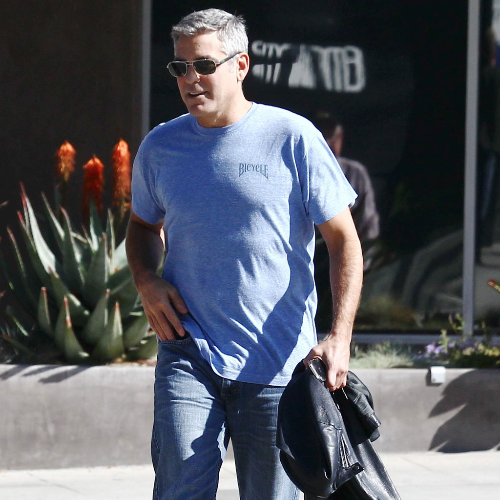 George Clooney wearing a blue shirt in LA.