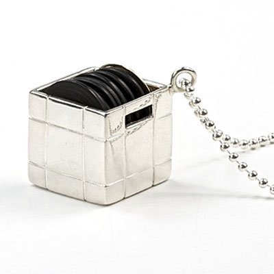 Sterling silver DJ crate with nine-carat gold vinyl on a 32-inch sterling silver chain ($462)