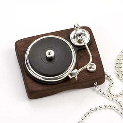 Real vinyl and sterling silver turntable pendant ($462)