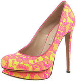 This heel combines two of Spring's hottest trends: neon and lace.  Nicholas Kirkwood Lace Platform Pumps ($839)