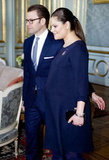 A pregnant Princess Victoria and Daniel arrive for a lunch at Stockholm's Royal Palace just a few days ago.