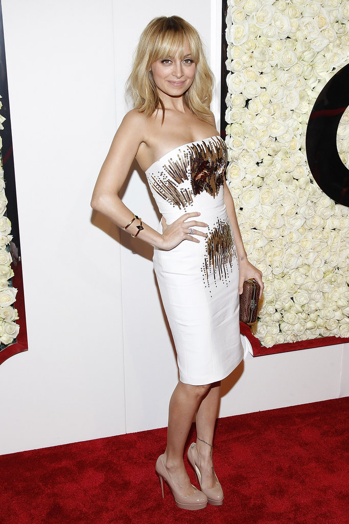Nicole Richie wore a white strapless gown to a QVC event.