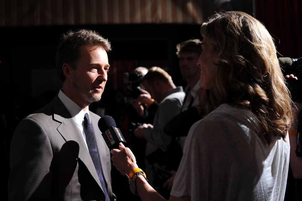 Edward Norton did interviews at a Hollywood Dominoes event.